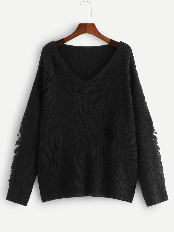 275f839ea8a Plus Drop Shoulder Ripped Detail Sweater