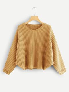 Solid Rib Knit Asymmetrical Hem Sweater