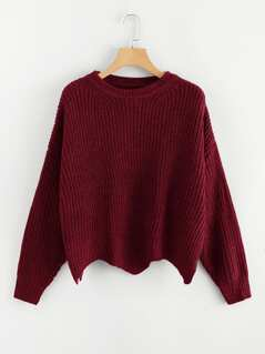 Drop Shoulder Asymmetrical Hem Sweater