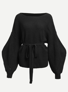 Lantern Sleeve Tie Waist Solid Sweater