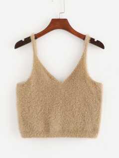 Solid Crop Fuzzy Cami Top