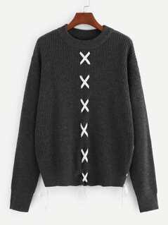 Drop Shoulder Crisscross Detail Sweater