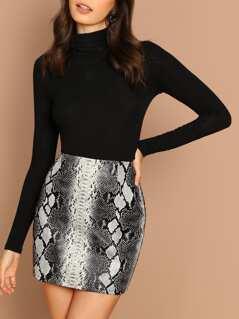Snake Print Faux Leather Back Zip Mini Skirt