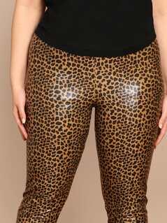 8984d7e0f6dee0 Leopard Print Stretch Skinny Coated Leggings   MakeMeChic.COM