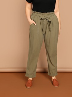 Paper Bag Waist Tie Skinny Relaxed Pants