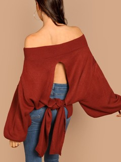 Off Shoulder Puff Sleeve Back Tie Pullover Sweater