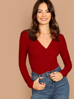 V-Neck Long Sleeve Rib Knit Top