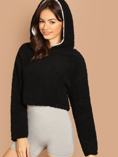 Fuzzy Bear Pullover Crop Teddy Hoodie