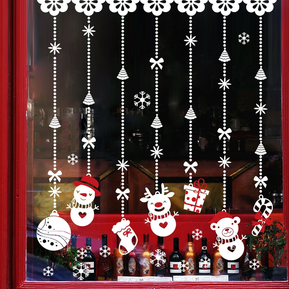 Christmas Snowman Pattern Muursticker 1pc