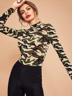 Mock Neck Camo Print Bodysuit