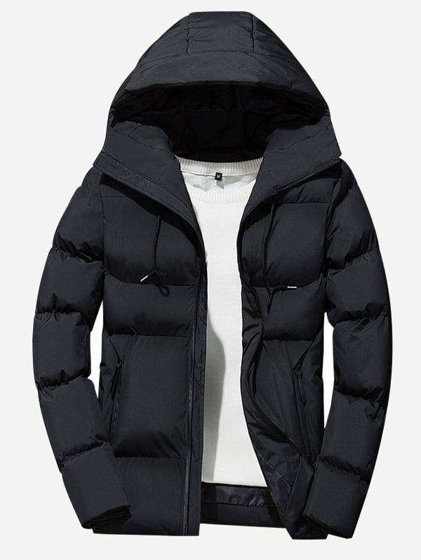 Купить Мужское однотонное пальто с капюшоном и кулиской, null, SheIn