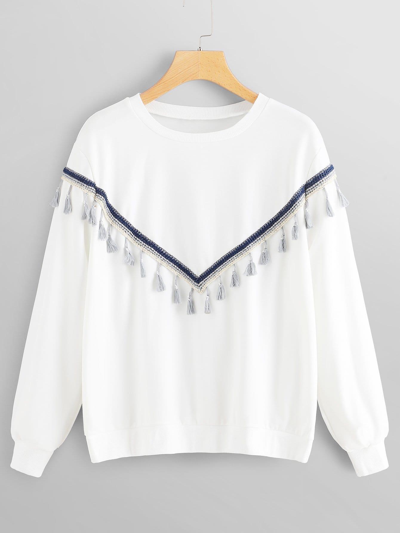 Купить Большой пуловер с украшением кисти, null, SheIn