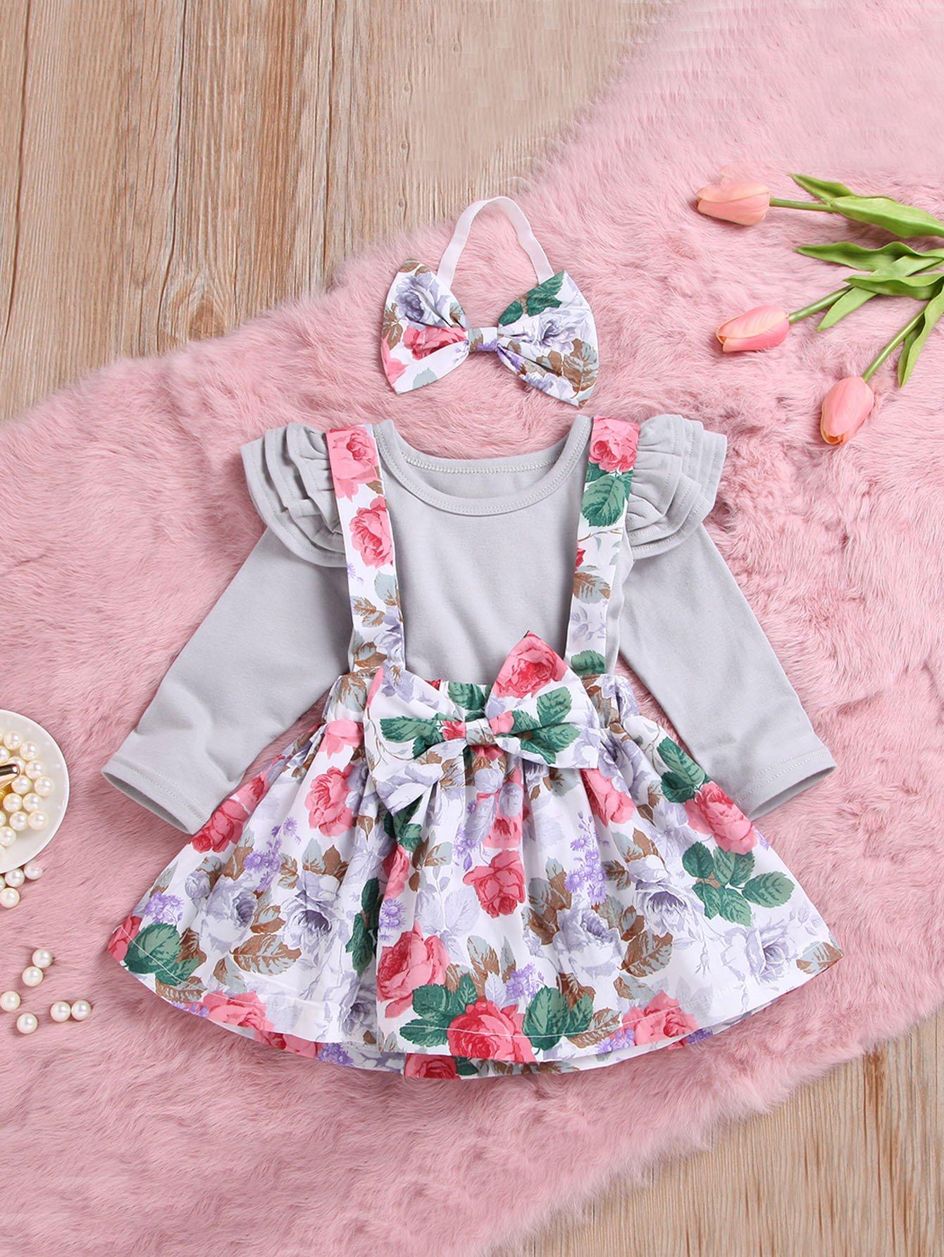 Купить Блуза с кружевными оборками и юбка с принтом цветочным и бандана для маленьких малышей, null, SheIn