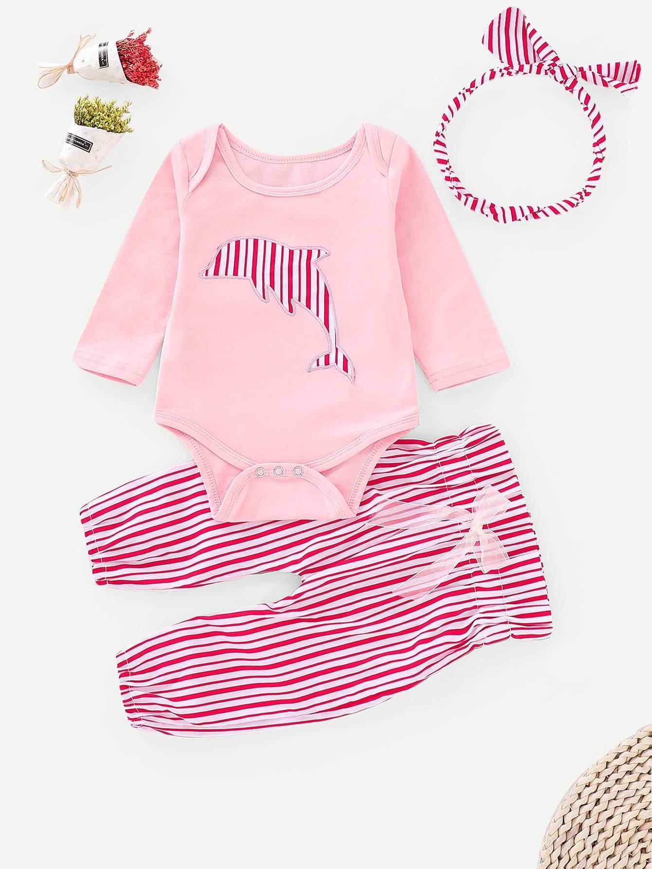 Купить Блуза с вышивкой и полосатые брюки для маленьких малышей, null, SheIn