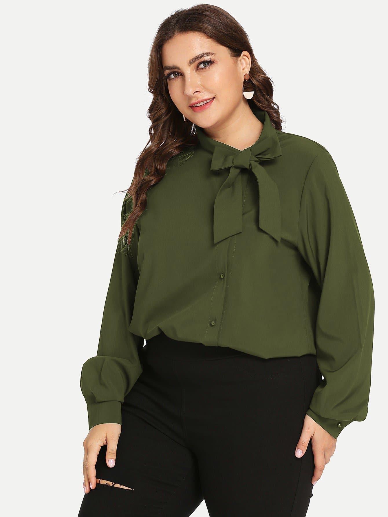 Купить Размера плюс однотонная блуза с поясом, Franziska, SheIn