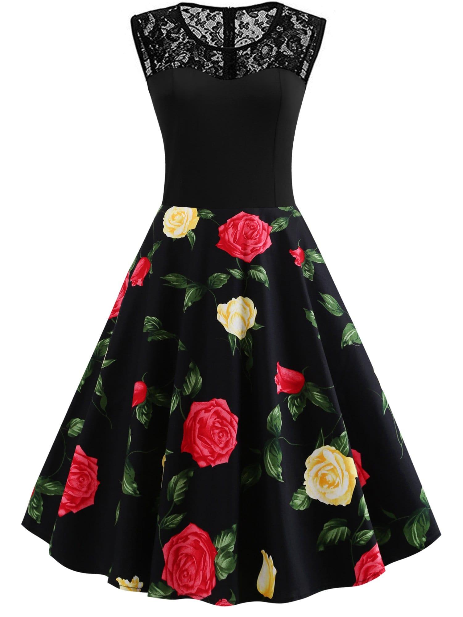 Купить 50s Контрастное платье с кружевами и принтом цветочным, null, SheIn