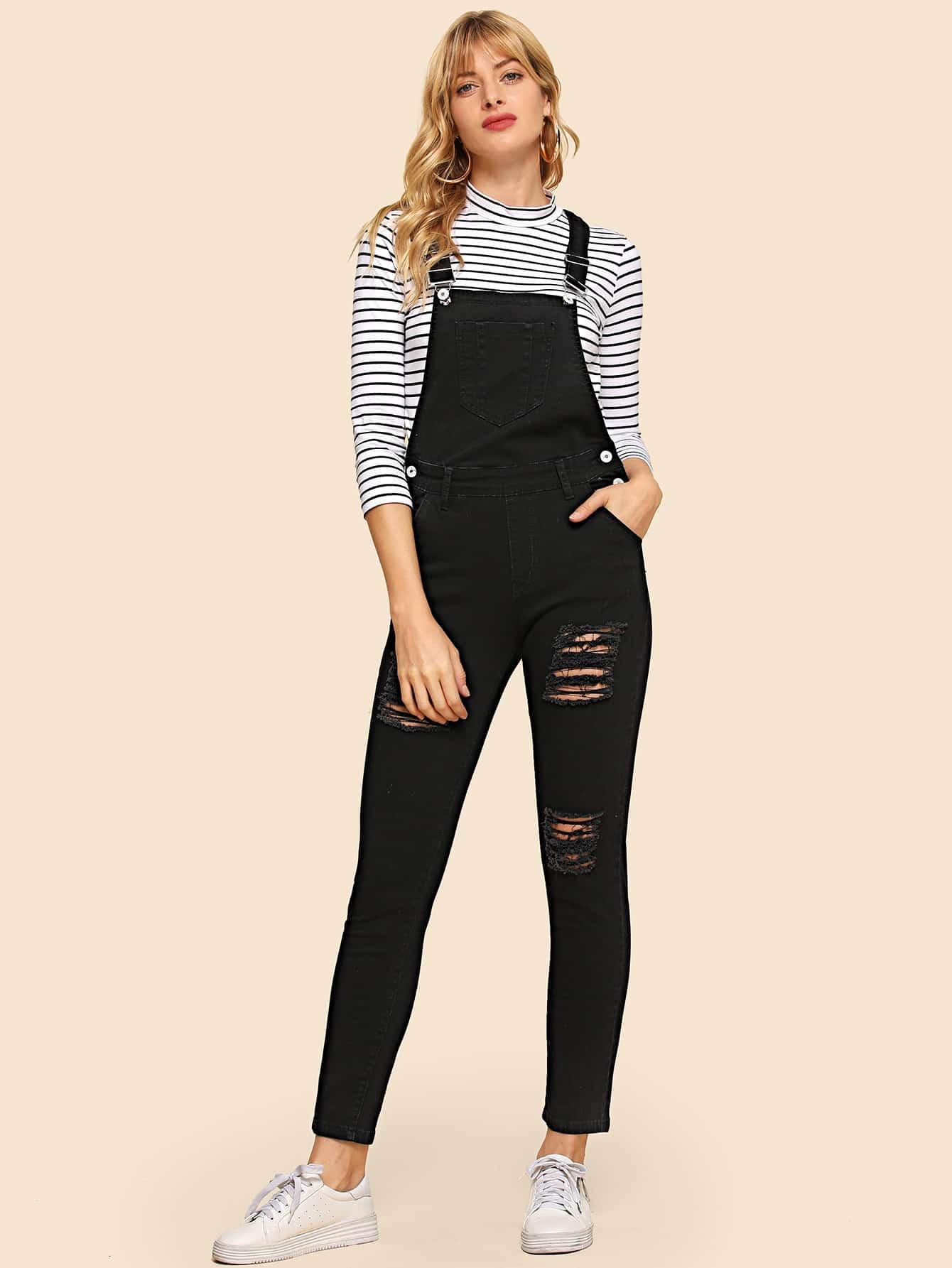 Купить Рваный обтягивающий джинсовый комбинезон, Masha, SheIn