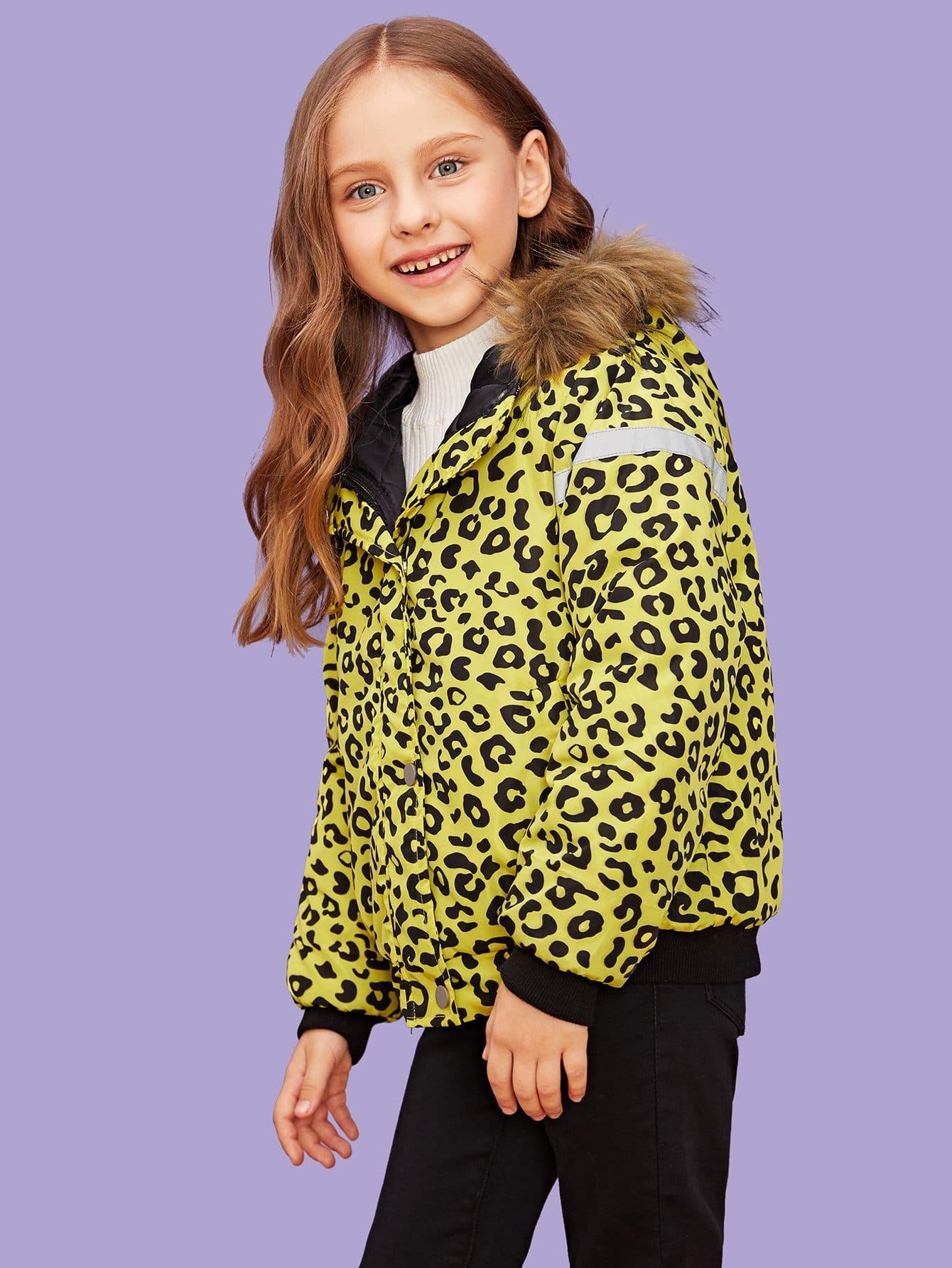 Купить Для девочек леопардовое пальто с искусственным мехом, null, SheIn