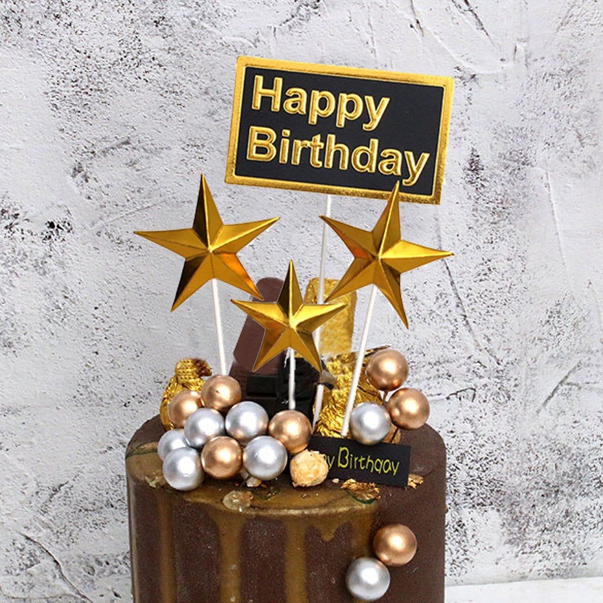 Star & Slogan Print Cake Topper Decoratie 4st