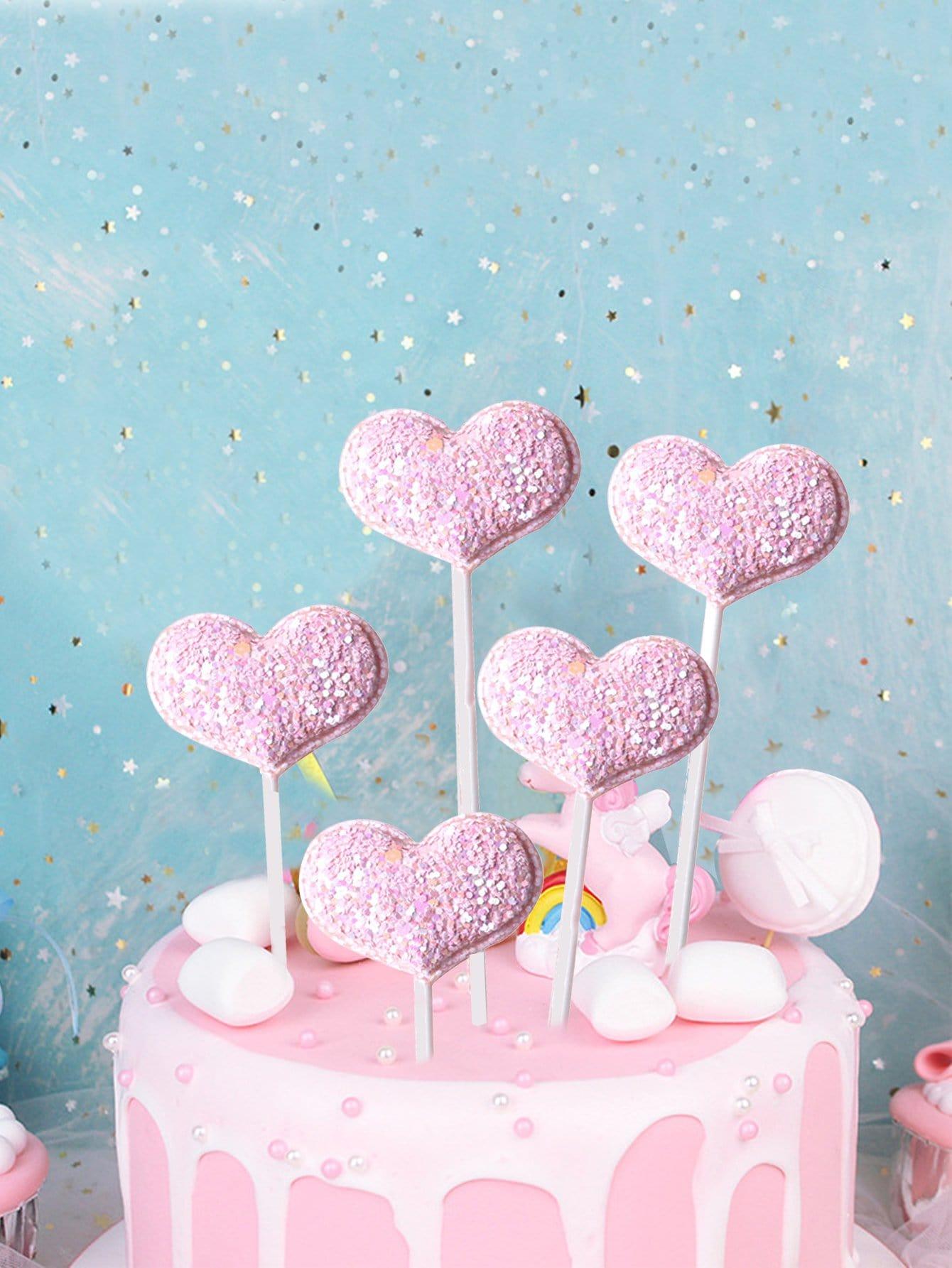 Купить Торт сверху украшение в виде сердца 5шт., null, SheIn