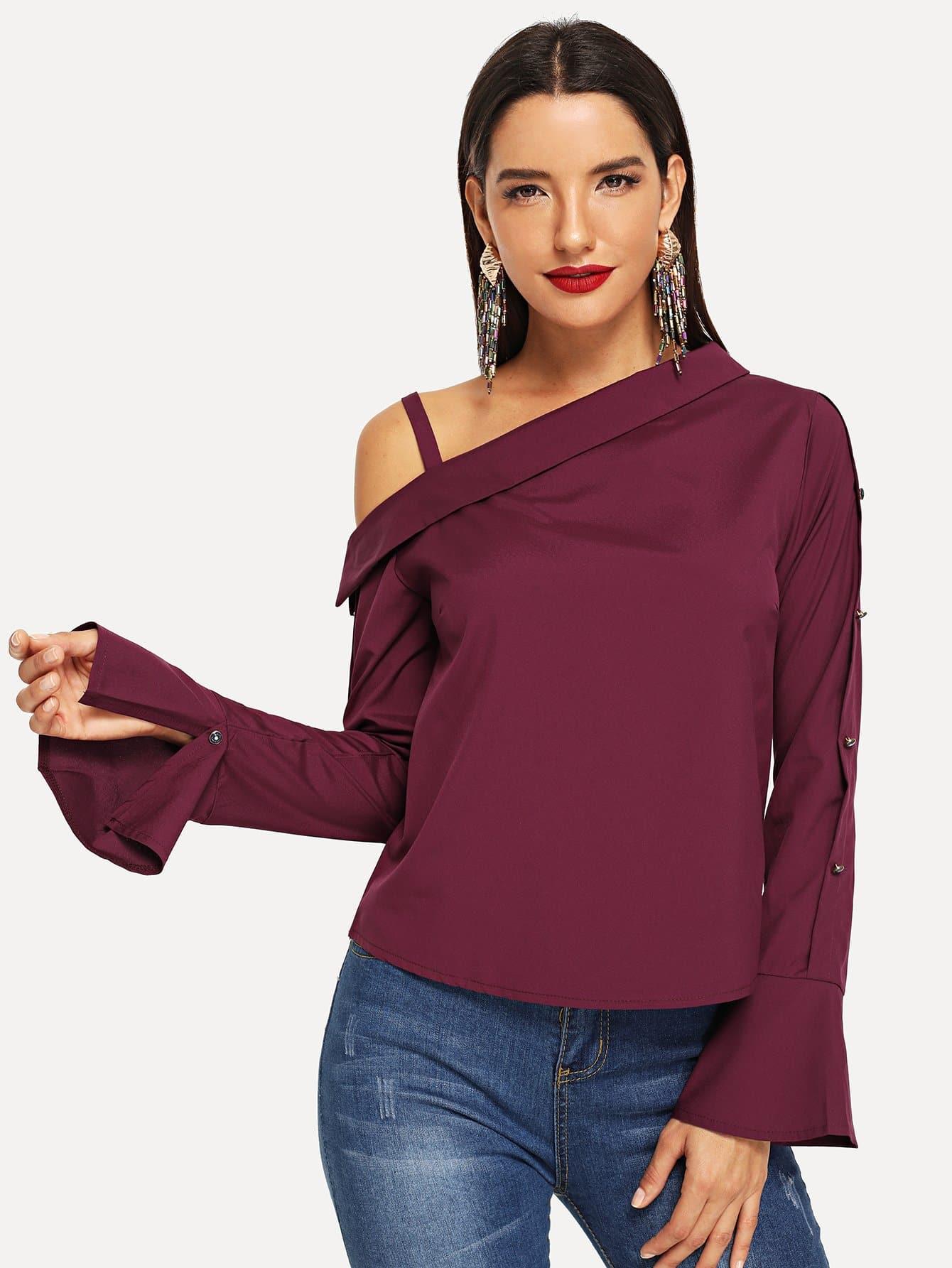 Купить Блуза с рукав-колоколами, Juliana, SheIn
