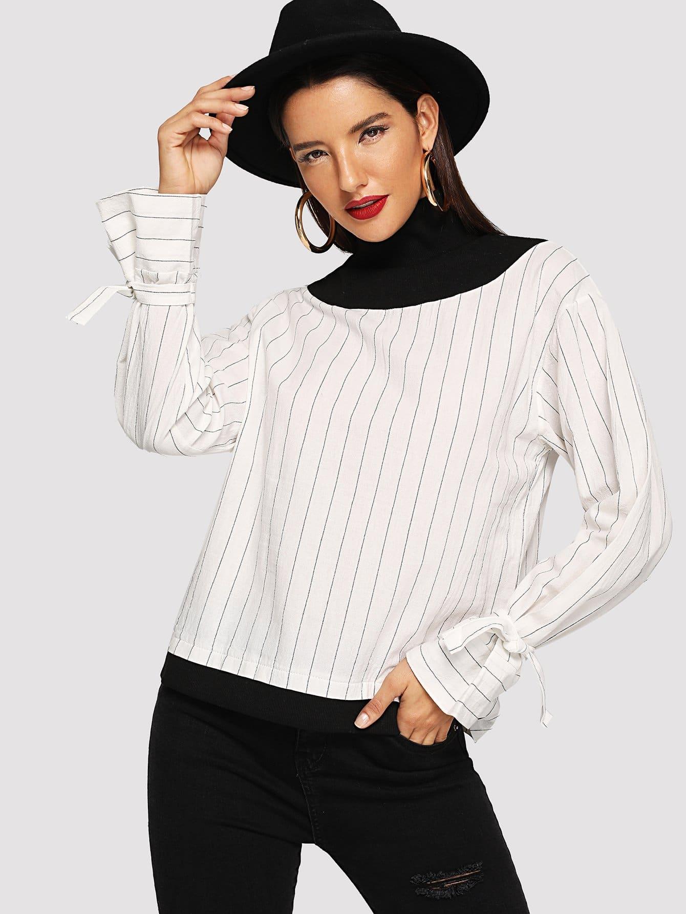Купить Полосатая блуза с высоким воротником и розеткой на рукавах, Juliana, SheIn