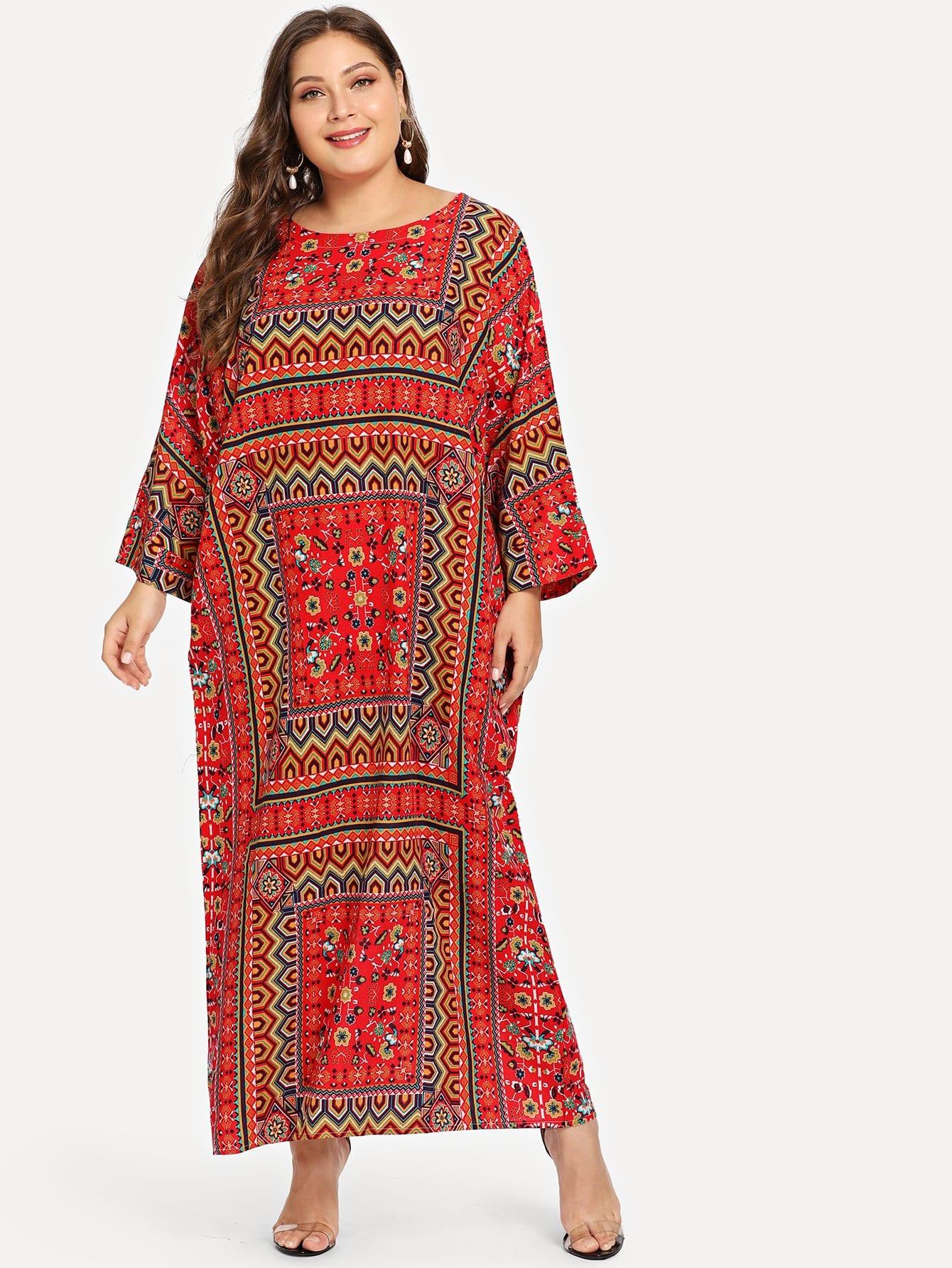 Купить Длинное платье с заниженной линией плеч и графическим принтом, Carol, SheIn