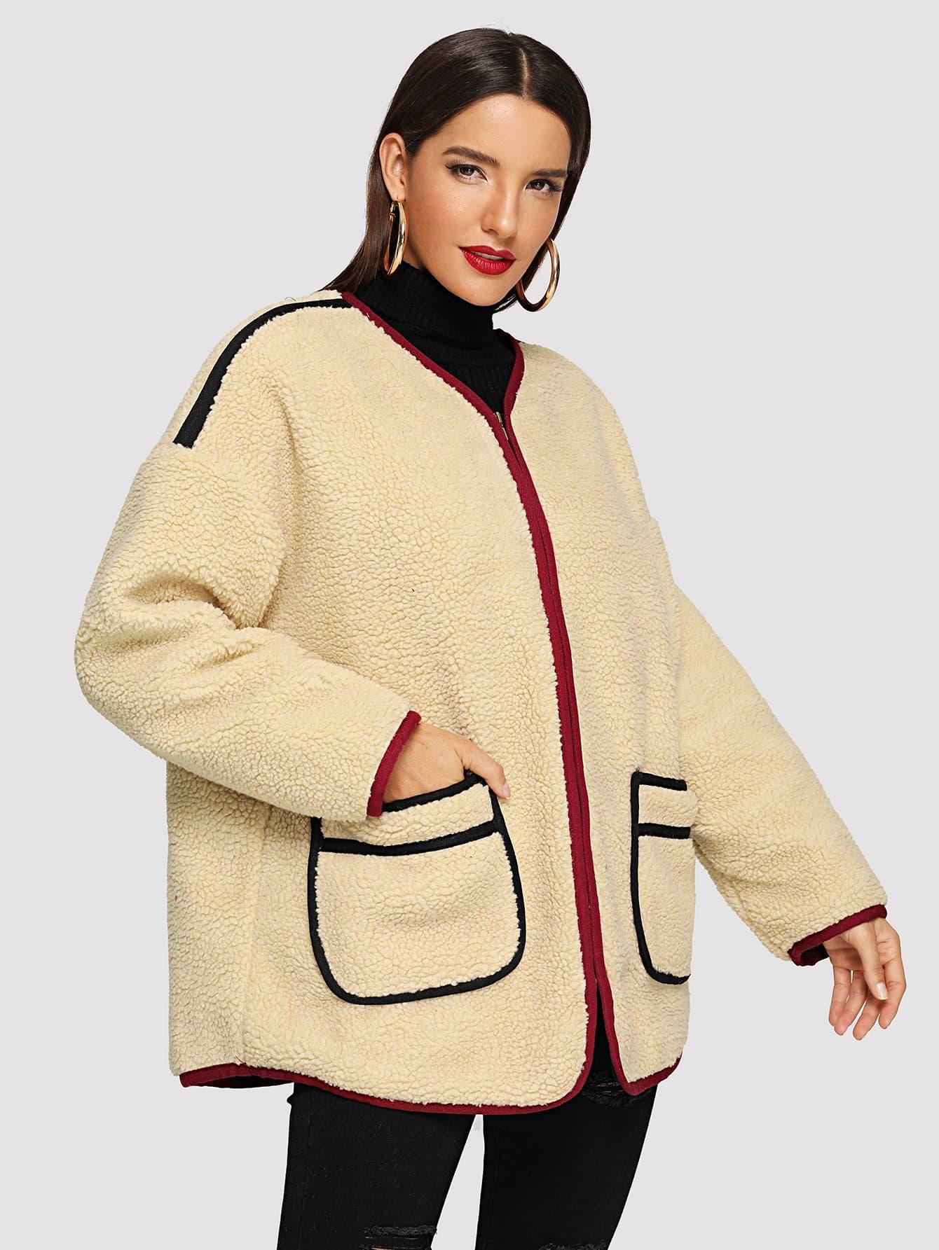 Купить Ветровка тедди с двумя кармана и заниженной линией плеч, Juliana, SheIn