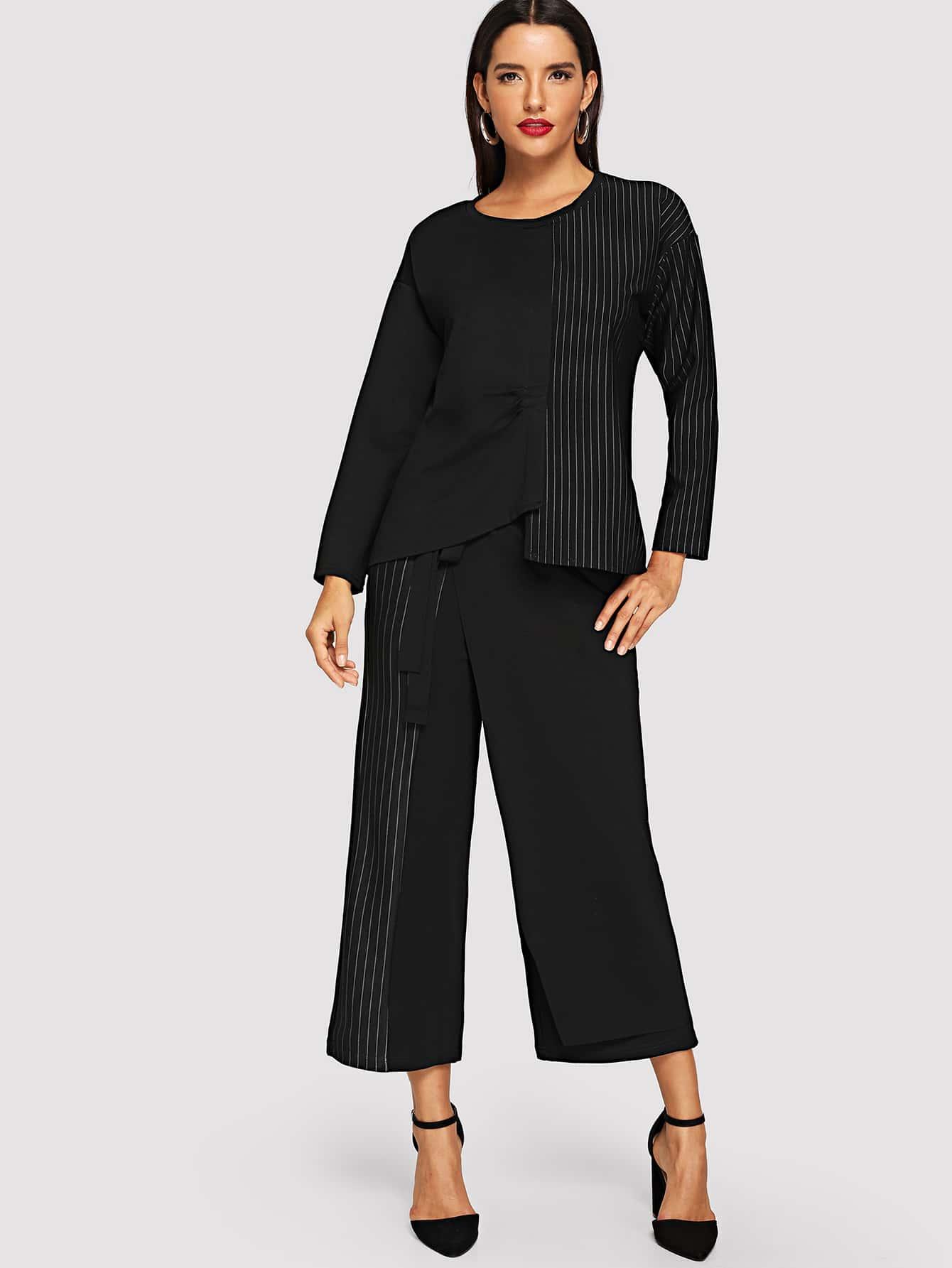 Купить Контрастная полосатая блуза и широкие ножные штаны с поясом, Juliana, SheIn