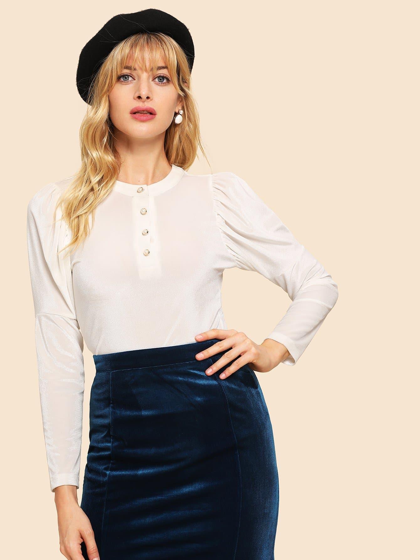 Купить Однобортная однотонная блуза с рукав-фонариками, Masha, SheIn