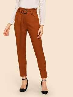 80s Frilled Waist Peg Leg Utility Pants