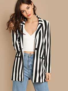 Notch Collar Striped Textured Blazer