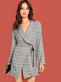 Shawl Collar Self Tie Wrap Plaid Coat
