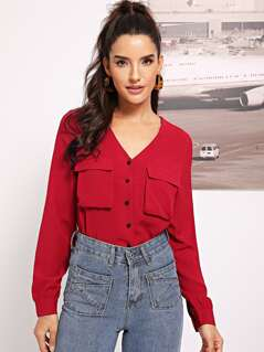 Pocket Patched Button Up Blouse