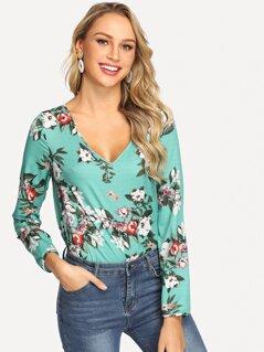 V Neck Floral Print Top