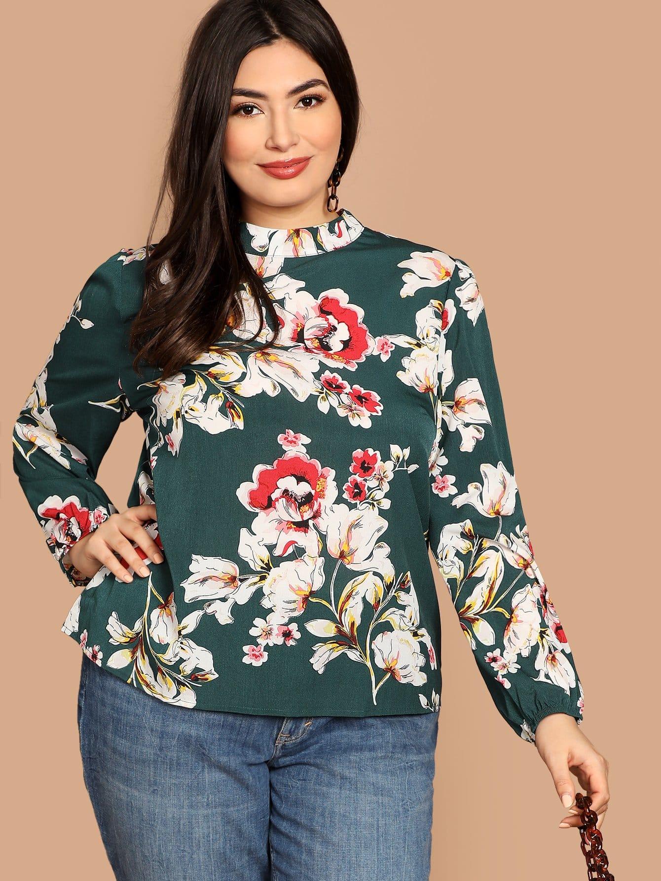 Фото - Плюс размера цветочная блузка с длинным рукавом от SheIn цвет зелёные
