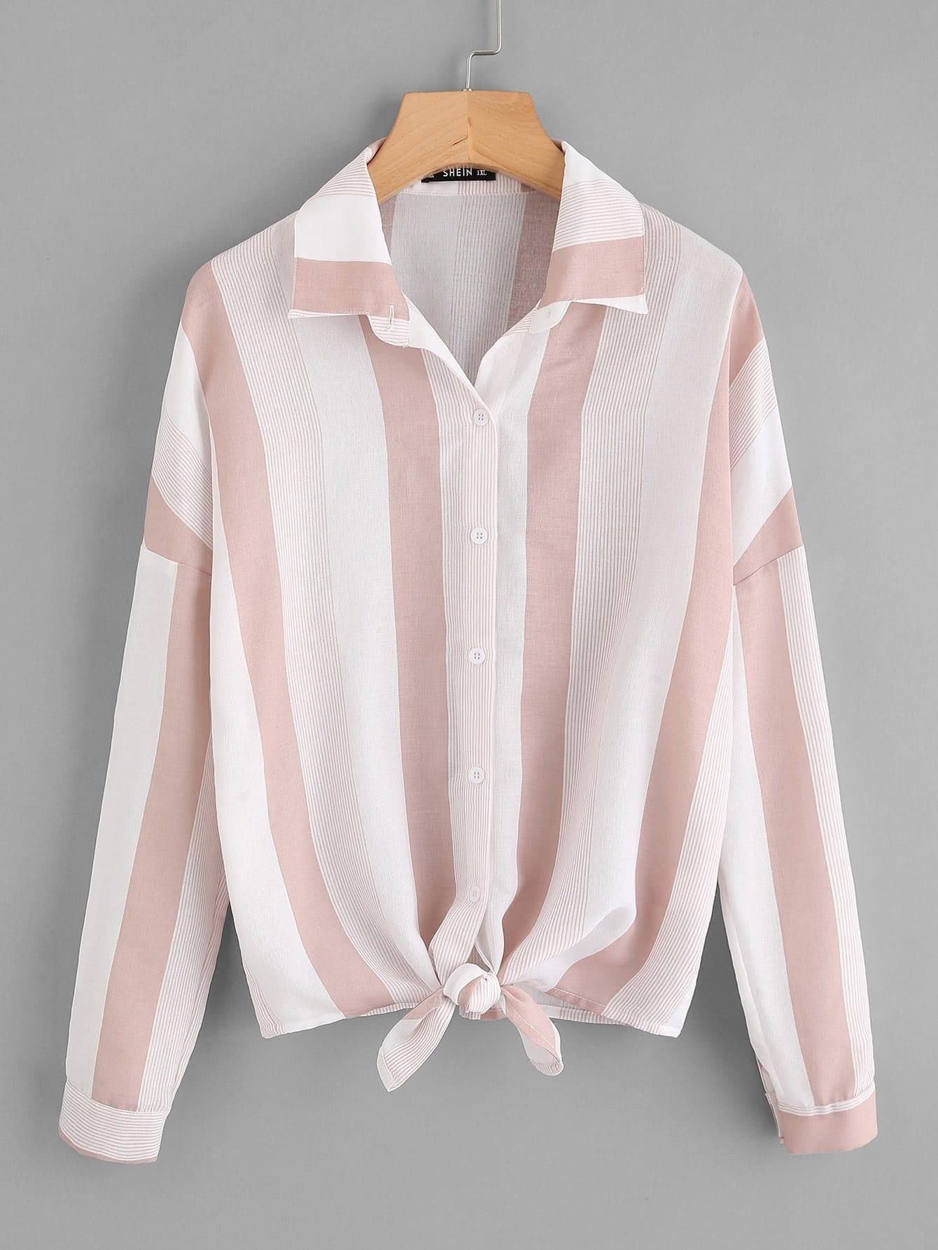 Купить Однотонная рубашка с опущенным плечом размера плюс, null, SheIn