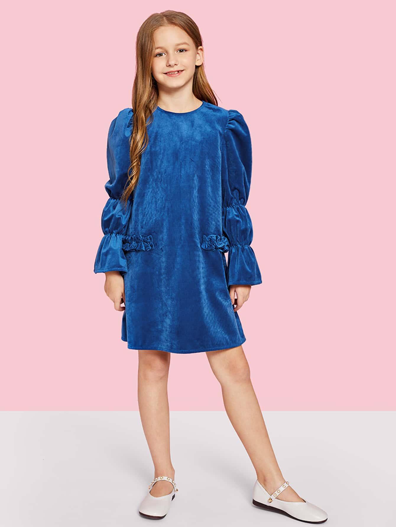 Купить Для девочек платье на молнии сзади с рюшами отделкой, Sashab, SheIn