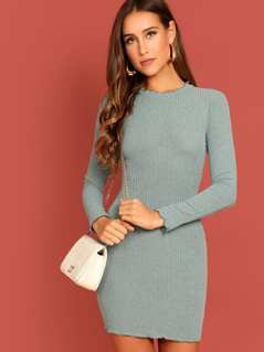 Lettuce Trim Rib Knit Dress