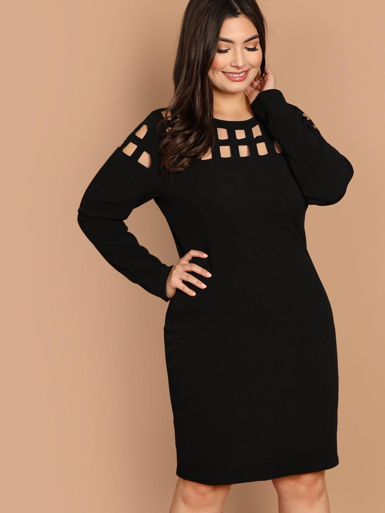 Фото - Плюс размеры облегающее платье с ажурным вырезом от SheIn цвет чёрные