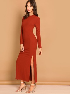 Ribbed Knit Split Solid Dress