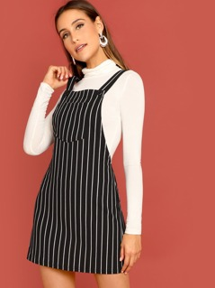 Pocket Front Pinstripe Overall Dress