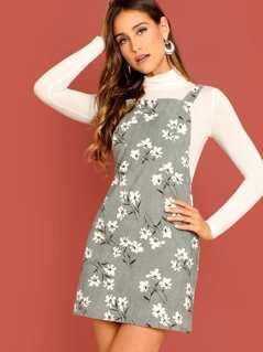 Daisy Print Overall Dress