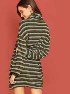 High Neck Striped Tunic Dress