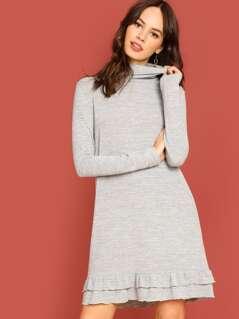 Ruffle Detail Tunic Dress