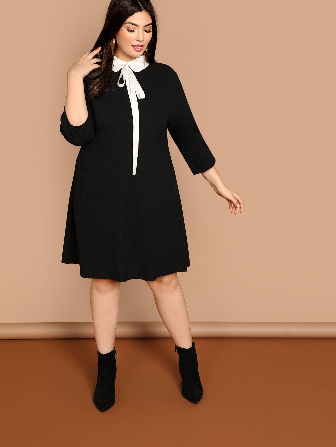 Плюс размера платье с карманом с контрастным вырезом