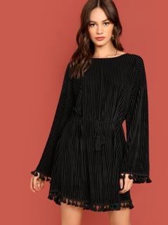 Drop Shoulder Tassel Embellished Dress
