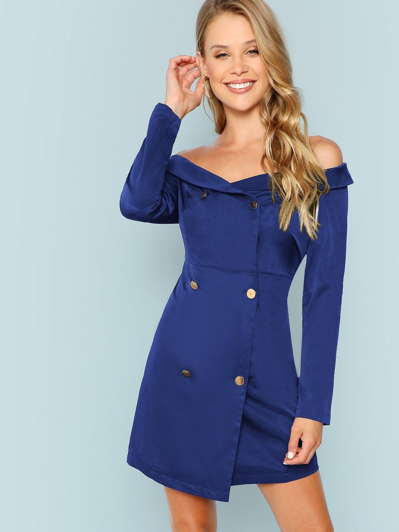 Купить Двубортное платье с открытыми плечами, Allie Leggett, SheIn