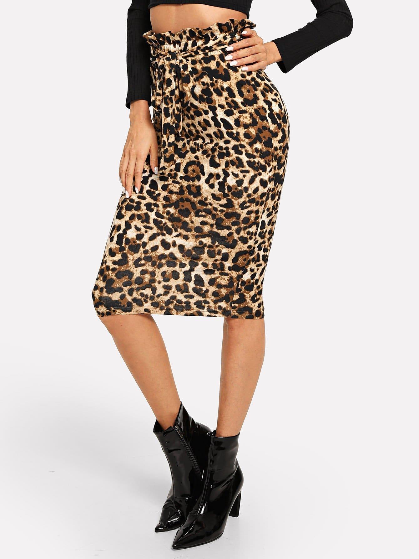 Купить Леопардовая юбка с поясом с оборками, Andy, SheIn