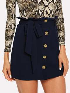 Button Front Belted Bodycon Skirt